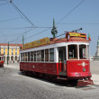 Historic tramway on Commerce Square in Lisbon, Portugal — Stock Photo