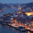 Douro river and the old town of Porto at dusk, Portugal - Stock Photo