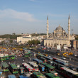 Bus station and the New Mosque in Istanbul — Stock Photo