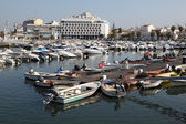 Boats in the marina of the old Portuguese town Faro, June 20, 2010 — Stock Photo
