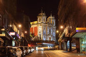 Santo Ildefonso Church illuminated at night, Oporto Portugal — Stock Photo