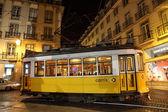 Lisbon tram at night, Portugal — Stock Photo