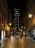 The Santa Justa Lift (Elevador de Santa Justa) at night. Lisbon, Portugal. — Stock Photo