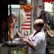 Turkish doner kebab vendor in an Istanbul restaurant - Stock Photo