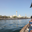 Crossing the Dubai Creek in a traditional Abra boat, Dubai, United Arab Emi — Stock Photo