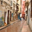 Narrow street in the Medina of Casablanca, Morocco - Stock Photo