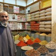 Spices seller in the medina of Fes, Morocco - Stock Photo