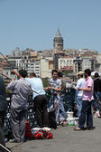 Fishing from the Galata Bridge in Istanbul — Стоковое фото