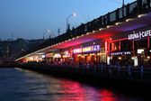 Restaurant at Galata Bridge in Istanbul — Stock Photo