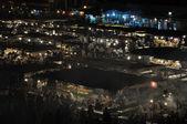 Puestos de comida en la plaza Jemaa el Fna en la noche, Marrakech — Foto de Stock