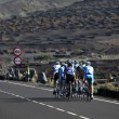 Cyclists on the road in Lanzarote, Canary Islands Spain. - Stock Photo
