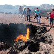Tourists in Timanfaya National Park on Lanzarote, Canary Islands Spain - Stock Photo