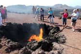 Tourists in Timanfaya National Park on Lanzarote, Canary Islands Spain — Stock Photo