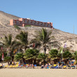 Sunloungers on the beach Playa de Sotavento, Canary Island Fuerteventura, S — Stock Photo