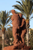 Lucha Canaria (Canarian wrestling) monument on Canary Island Fuerteventura, — Stock Photo