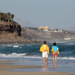 Walking on the beach, Canary Island Fuerteventura - Stock Photo