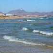 Kitesurfing on the beach on Canary Island Fuerteventura - Stok fotoğraf