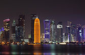 Doha skyline at night, Qatar, Middle East — Stock Photo