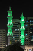 Green minarets of a mosque in Abu Dhabi — Stock Photo