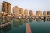 Residential buildings and empty Marina at The Pearl in Doha, Qatar — Stock Photo