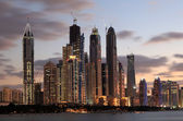 Dubai Marina skyline at dusk, Dubai — Stock Photo