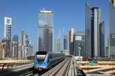 Metro train downtown in Dubai — Stock Photo
