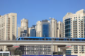 Metro train downtown in Dubai — Stock Photo