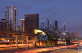 Dubai Marina Metro Station illuminated at night — Stock Photo