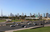 Dubai city highway and skyline — Stock Photo