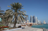 Palm Trees at the Corniche in Doha downtown district, Al Dafna, Qatar — Stock Photo