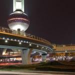 Oriental Pearl Tower illuminated at night. Shanghai China — Stock Photo