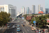 Street in Pudong, Shanghai China — Stock Photo