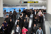 Crowded Metro Escalator in Shanghai, China — Stock Photo