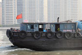Chinese cargo ship on Huangpu River in Shanghai — Stock Photo