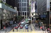 Overvolle straat in hong kong stad — Stockfoto
