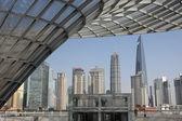 Skyline del pudong visto dal bund, shanghai — Foto Stock