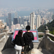 Couple enjoying the view over Hong Kong — Stock Photo