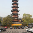 Pagoda at Longhua Temple in Shanghai, China - Stock Photo