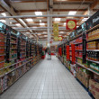 Inside a large supermarket in Spain - Stock Photo