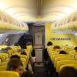 Inside of the Ryanair airplane - Stock Photo