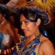 Cruz de Tenerife Carnival 2011: Young woman wearing traditional costume — Stock Photo #9344318