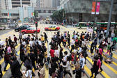 Crowded cross-walk in the city of Hong Kong — Stock Photo