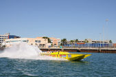 Tourists having fun in a speedboat, Miami Florida — Stock Photo
