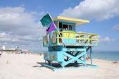спасательная башня на южный пляж майами, флорида сша — Стоковое фото