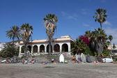 Palmeras en la playa playa de los cristianos, tenerife — Foto de Stock