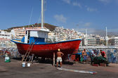 Fishing boat in drydock of Los Cristianos, Canary Island Tenerife — Stock Photo