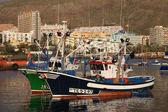 Barcos de pesca en el puerto de los cristianos, canary isla tenerife — Foto de Stock