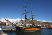 Sailing Ship Jolly Roger in the harbour of Los Cristianos, Tenerife — Stock Photo