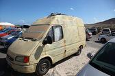 Surfer's van in parking lot at the beach of El Medano, Tenerife — Stock Photo
