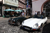 Vintage cars parked in the the old town of Limburg, Hesse Germany — Stock Photo
